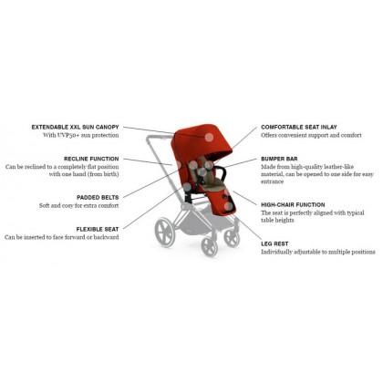 Cybex Priam Lux Seat - Hot & Spicy Denim Red
