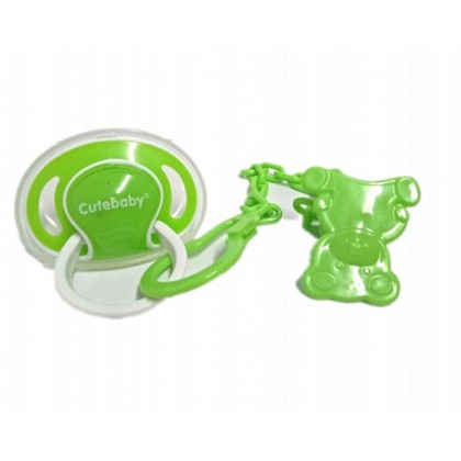 Cutebaby Oval-Shaped Pacifier With Chain 6m+ (1 pcs)