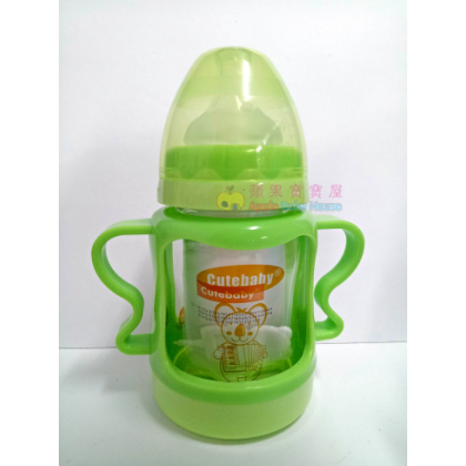 Cutebaby Wide Mouth Crystal Glass Bottle With Straw & Breakage-Proof Cover 6-12m+ (150ml)