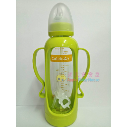 Cutebaby Standard Neck Crystal Glass Bottle With Straw & Breakage-Proof Cover 0-12m+ (240ml)