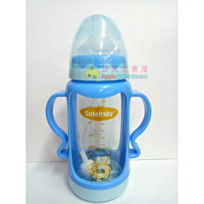 Cutebaby Wide Mouth Crystal Glass Bottle With Straw & Breakage-Proof Cover 6-12m+ (240ml)