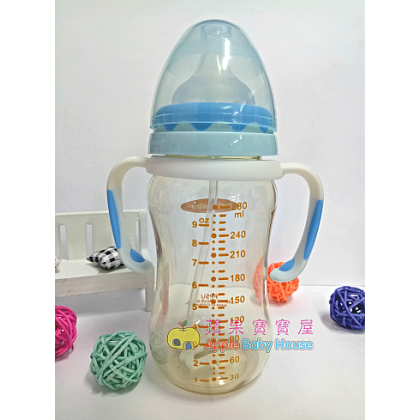 Cutebaby With Straw&Handle Wide Mouth PPSU Bottle 6-12m+ (280ML)