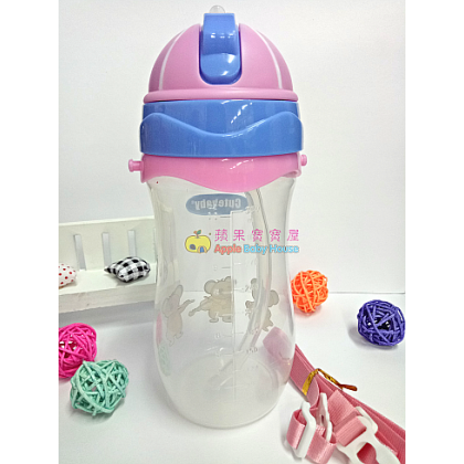 Cutebaby Portable Straw Bottle WIth Rope 8m+ (330ML)