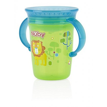 Nuby No-Spill 2-Handle 360degree Printed Wonder Cup 240ml 6m+
