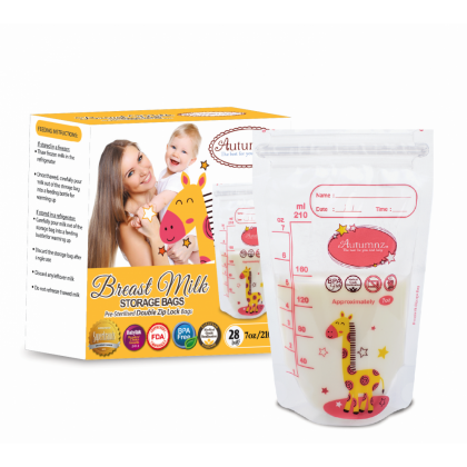 Autumnz Double Ziplock Breastmilk Storage Bag - 7oz/28pcs