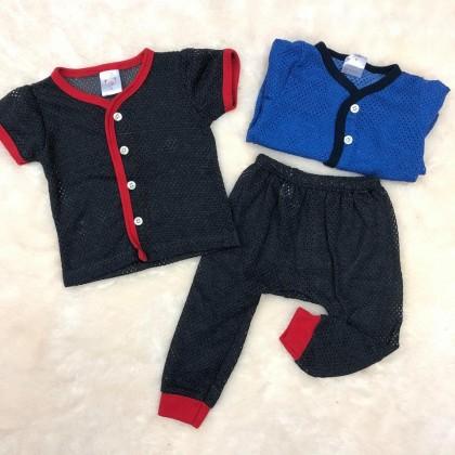 Baby Eyelet Short Sleeve+Long Pant(Color) NB-247-04