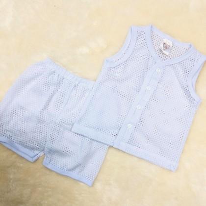 Baby Eyelet Sleeve Less Suit(White) NB-246-01