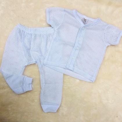 Baby Eyelet Short Sleeve+Long Pant(White) NB-246-04