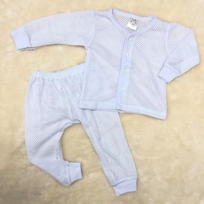 Baby Eyelet Long Sleeve+Long Pant(White) NB-246-03