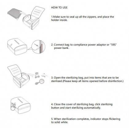 59s UVC LED Toy & Baby Clothes Sterilizing Bag P18M