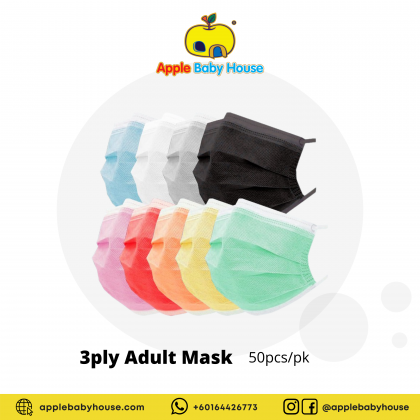 3-Ply Disposable Face Masks for Adult - 50pcs