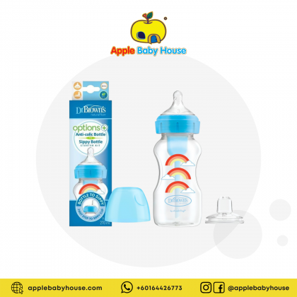 Dr Brown's Options+ Anti-colic Wide Neck Bottle w/Sippy Cup 9oz/ 270ml - BLUE