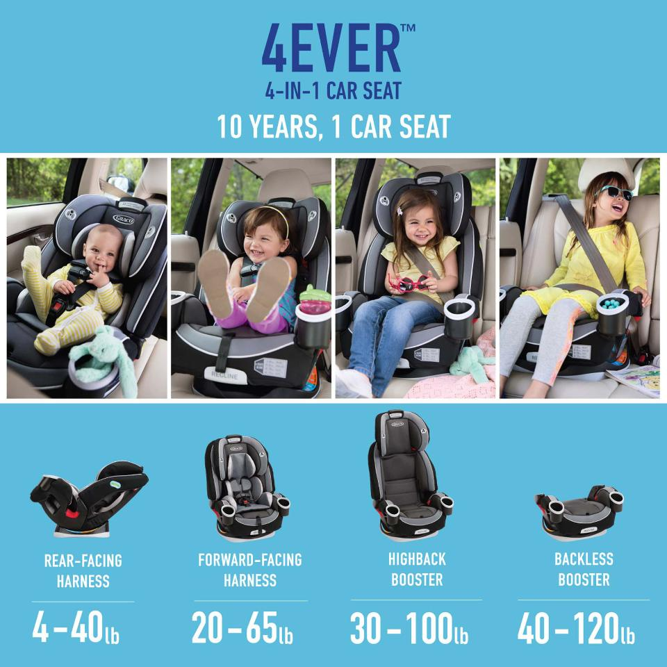 Transitions from Rear-facing Infant Car Seat to Forward-facing 5-point Harness seat High-Back Belt-Positioning Booster Backless Graco Cameron 4Ever™ 4-in-1